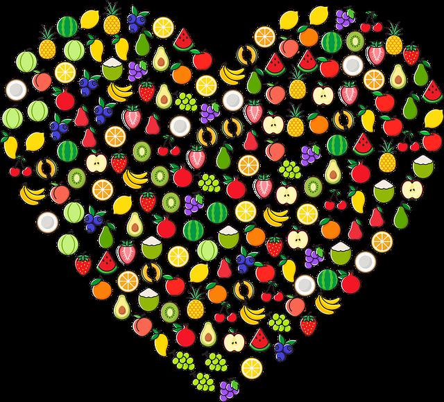 moltes fruites formant un cor